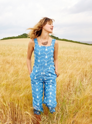 Solar Jumpsuit in Chambray Print by SIDELINE