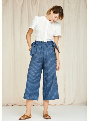 Poppy Culottes in Indigo Herringbone Stripe by SIDELINE