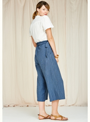 Young British Designers: Poppy Culottes in Indigo Herringbone Stripe - Last pair (M) by SIDELINE