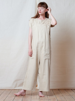 STRIKE LONG JUMPSUIT. Natural Linen by Kate Sheridan