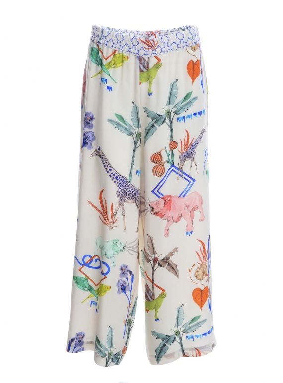 Young British Designers: The Silk Pluto Pant. Jungle Sketchbook - last pair by Klements
