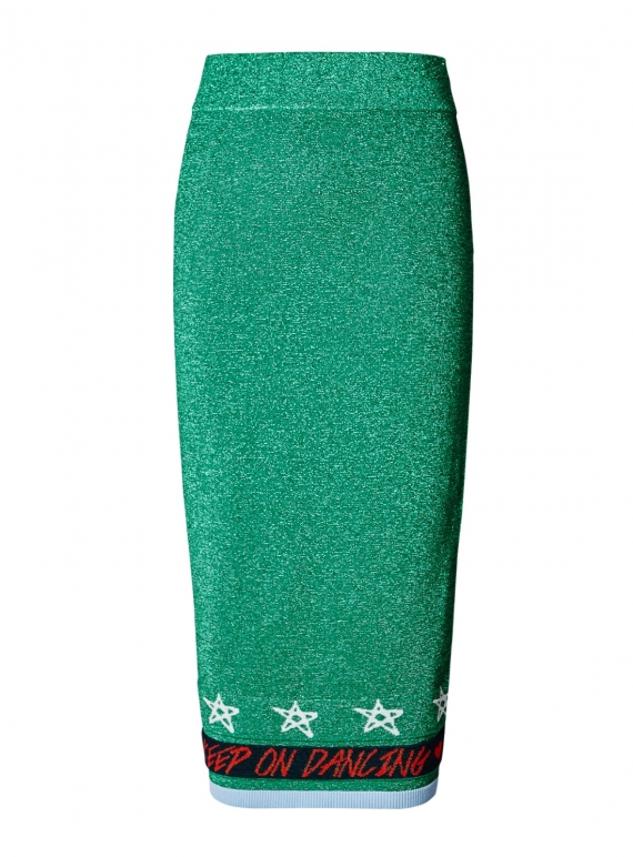 Young British Designers: Keep On Dancing Tube Skirt. Metallic Green by J.Won