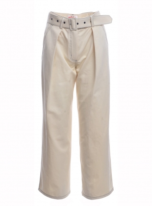 Ivory Cotton Canvas Trousers  by MINKI LONDON