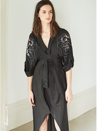 GLORIA KIMONO DRESS in JUNGLE LINE - Back in stock by Tallulah & Hope