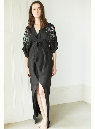 Young British Designers: GLORIA KIMONO DRESS in JUNGLE LINE  by Tallulah & Hope