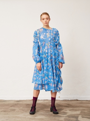 Blue Fruit & Floral Dress by Renli Su
