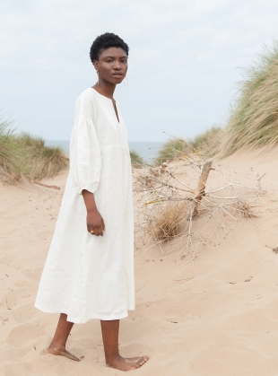 Young British Designers: ANDREIA-MAY Ivory Linen DRESS - last one (M) by Beaumont Organic