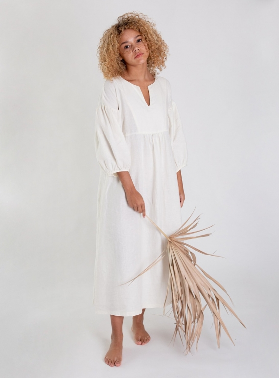 Young British Designers: ANDREIA-MAY Ivory Linen DRESS by Beaumont Organic