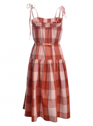 Young British Designers: ELISA TIE-STRAP CHECKED DRESS  by Belize