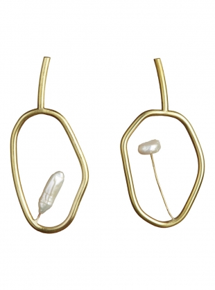 OPUS EARRINGS. Brass. Pearl by Ruby Jack
