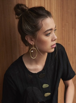 Young British Designers: OPUS EARRINGS. Brass. Pearl by Ruby Jack