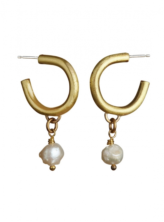 Young British Designers: ENDO EARRINGS. Brass.Pearl by Ruby Jack