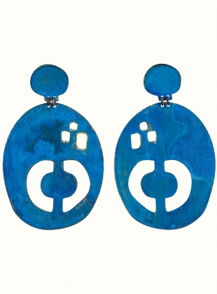 Young British Designers: CALVINO VASE EARRINGS. Cobalt Blue by Ruby Jack