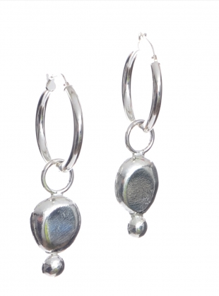 Young British Designers: GWYNETH RECYCLED SILVER NUGGET EARRINGS by Beaumont Organic