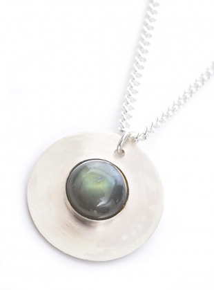 GWYNETH RECYCLED SILVER STONE PENDANT by Beaumont Organic