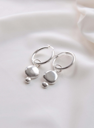 GWYNETH RECYCLED SILVER NUGGET EARRINGS by Beaumont Organic