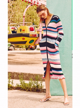 Stripe Rib Cardigan. Melange Pink - Last one (S) by J.Won