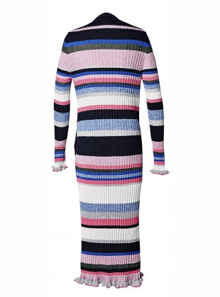 Young British Designers: Stripe Rib Cardigan. Melange Pink - Last one (S) by J.Won