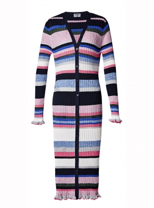 Stripe Rib Cardigan. Melange Pink   by J.Won