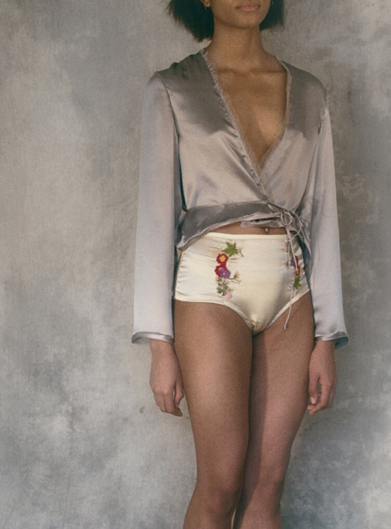 Young British Designers: FLORA - LOU Cream silk pants with Embroidery - Last pair (M) by CREASE
