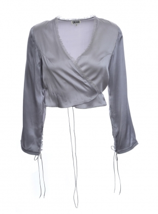 LAVENDER Grey Silk Wrap Blouse by CREASE