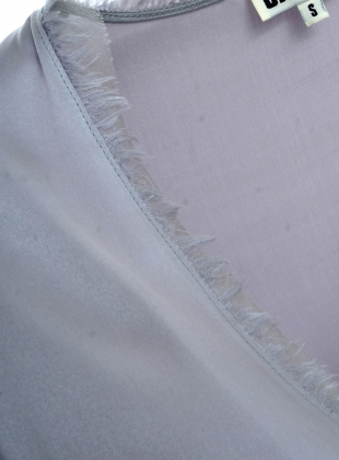 Young British Designers: LAVENDER Grey Silk Wrap Blouse by CREASE