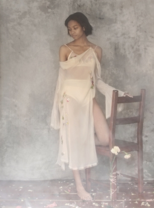 Young British Designers: EVIE Nude Dress with Godet Sleeves  by CREASE