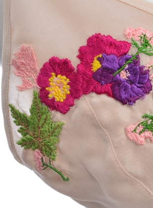 Young British Designers: Lou-Lou Peach Silk Bra with Embroidery by CREASE