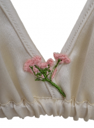 Young British Designers: DAISY Cream Silk Triangle Bra with Embroidery by CREASE