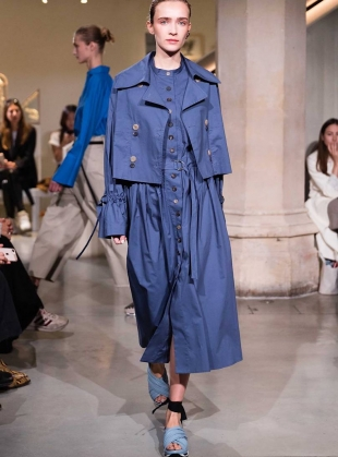 Young British Designers: GIOVANNA TRENCHCOAT & DRESS. Blue Grey by Eudon Choi