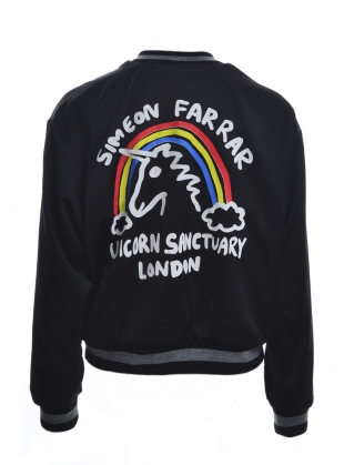 LIGHTWEIGHT BOMBER JACKET with UNICORN. Black by Simeon Farrar