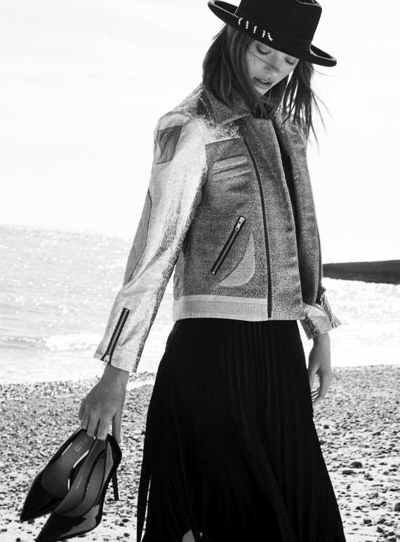 Young British Designers: Biker Jacket in Silver - Last one (M) by Sadie Williams