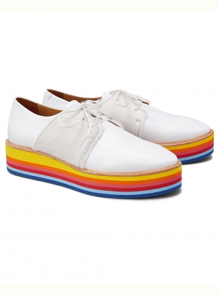 WANNABE RAINBOW. White Leather Rainbow Platform Brogue.  by Rogue Matilda