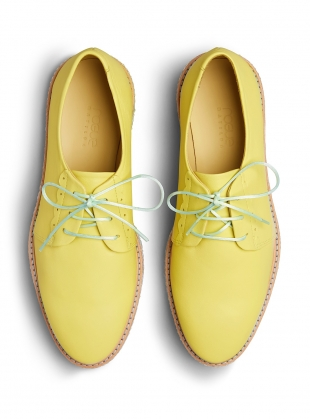 Young British Designers: BRAIDY BUNCH YELLOW Brogue with Woven Platform  by Rogue Matilda
