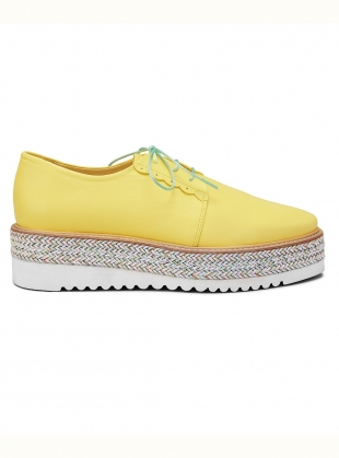 BRAIDY BUNCH YELLOW Brogue with Woven Platform  by Rogue Matilda