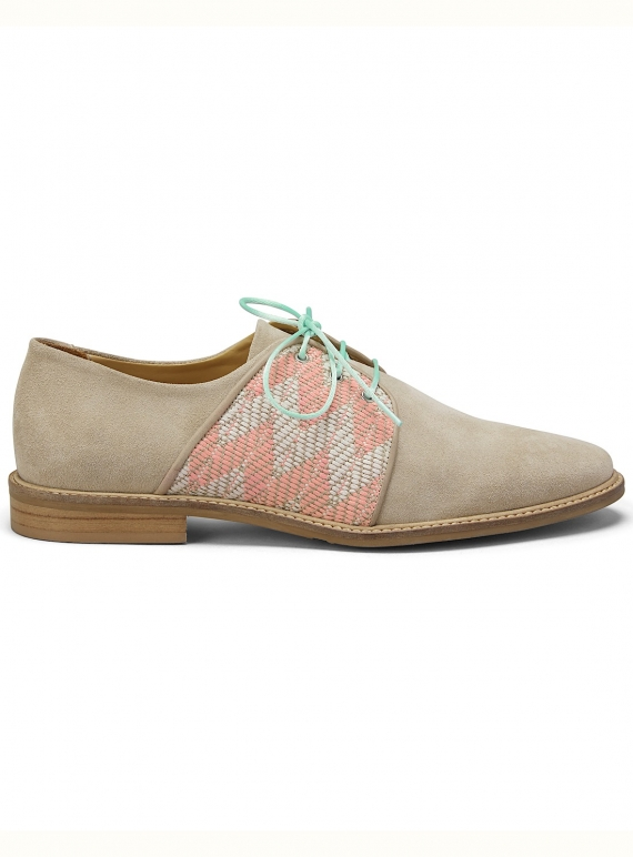Young British Designers: ROCK THE CASBAH Tan Suede Brogue - Last pair by Rogue Matilda