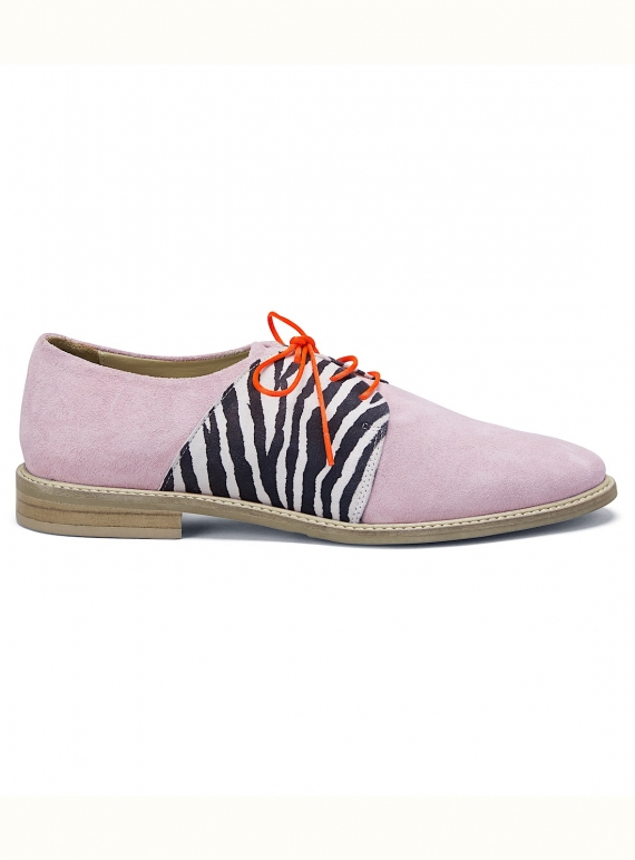 Young British Designers: PALMA VIOLET Light Pink Suede Brogue - last pair (42) by Rogue Matilda