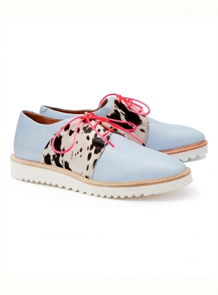 Young British Designers: TUTTI FRUTTI Light Blue Leather Brogue - Last pair (42) by Rogue Matilda