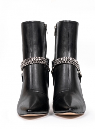 Young British Designers: RAZOR Buckle Pointed Boot in Black by HAVVA