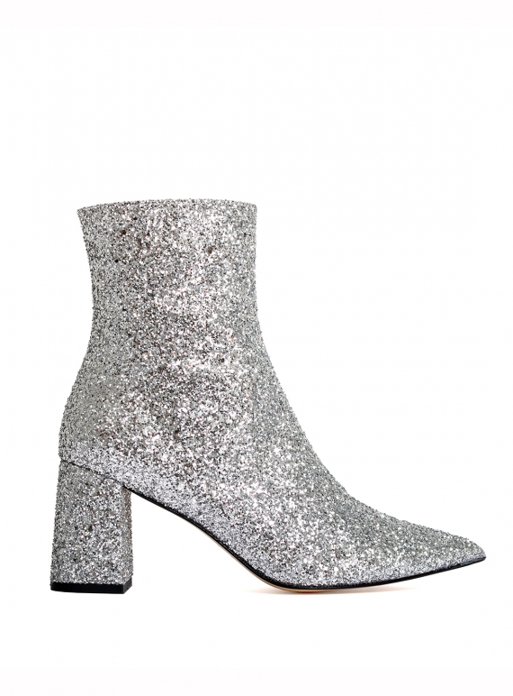 Young British Designers: RAZOR Pointed Boot. Block Heel. Silver Glitter by HAVVA