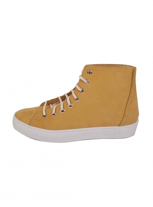 Young British Designers: NUBUCK HIGH TOP SNEAKER. Yellow by LF Markey