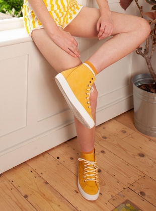 Young British Designers: NUBUCK HIGH TOPS. Yellow by LF Markey