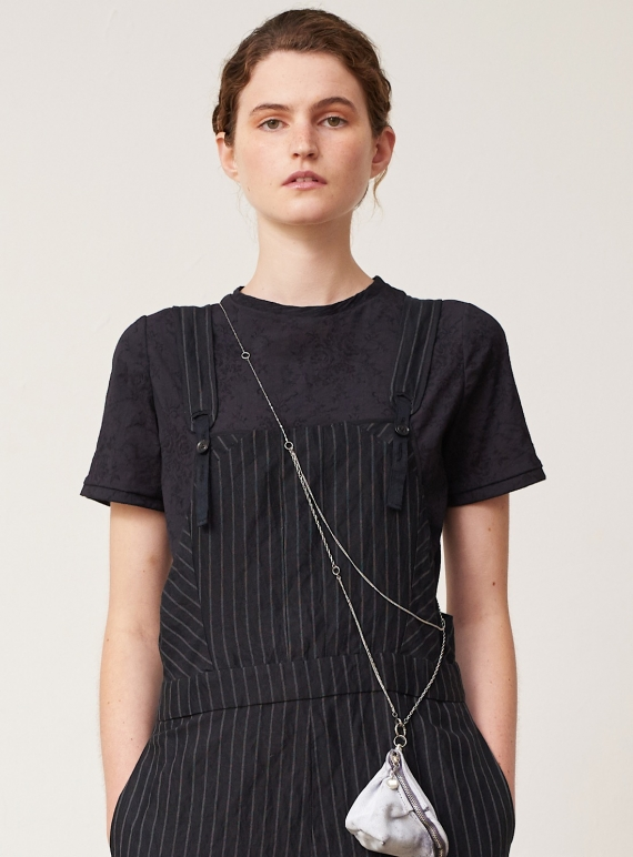 Young British Designers: Fine Black Texture Tee Shirt by Renli Su