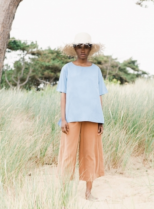 HAYLEY TOP. Cornflower Blue by Beaumont Organic