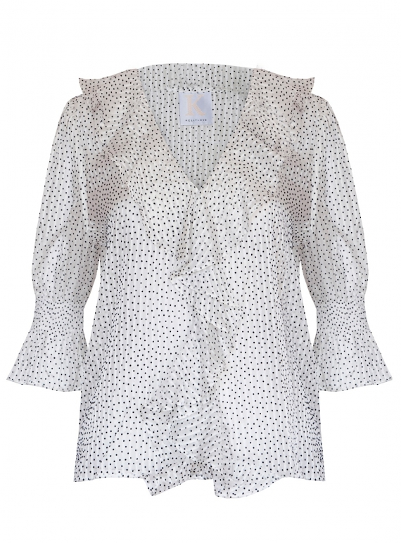 Young British Designers: DANCING LIGHT BLOUSE. White Dot by Kelly Love