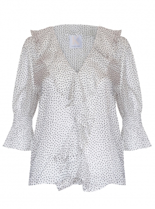 DANCING LIGHT BLOUSE. White Dot by Kelly Love