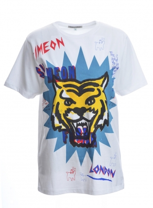 Young British Designers: SCRIBBLE TIGER STAR. White Tee by Simeon Farrar