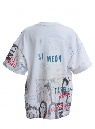 Young British Designers: OVERSIZE WHITE SWEAT TOP. Scribble Mix - Last one (XS) by Simeon Farrar