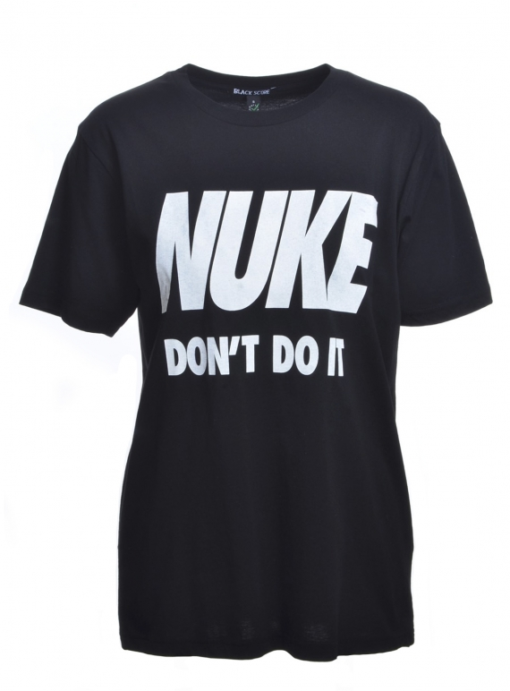 Young British Designers: NUKE DON'T DO IT. Black Classic T-Shirt by Simeon Farrar