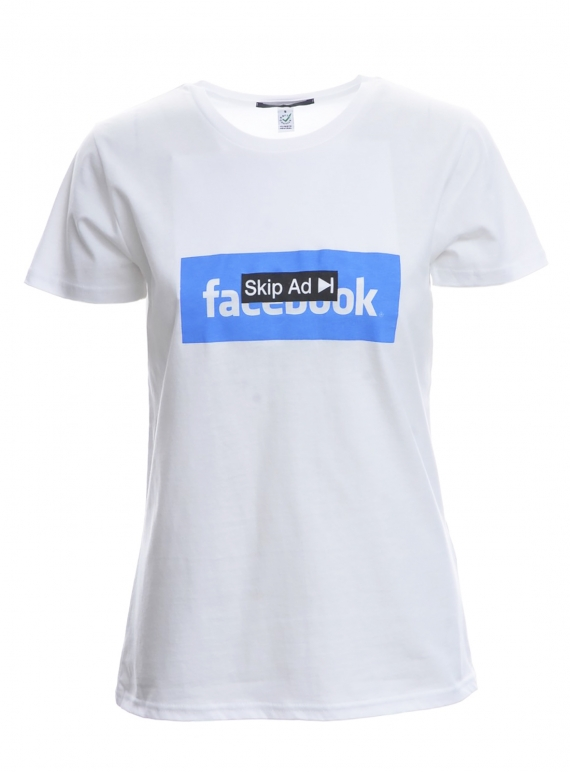 Young British Designers: SKIP AD FACEBOOK. White T-Shirt by Simeon Farrar